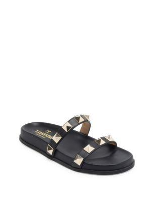 Rockstud Leather Two-Band Slide Sandal, Black