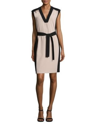 "Image of Crepe colorblock sheath dress with tie detail.V-neck. Sleeveless. Concealed back zip. About 46"" from shoulder to hem. Cupro/polyester. Machine wash. Imported. Model shown is 5'10"" (177cm) wearing US size 4."