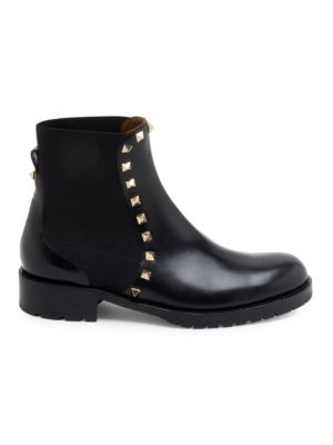 Rockstud Leather Biker Ankle Boots - Black Size 10