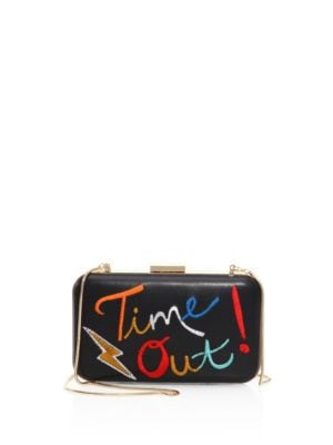 """Image of Eccentric clutch with multihued letter graphics. Shoulder strap. Magnetic frame closure.8"""" W x 4"""" H x 2"""" D.Leather. Imported."""