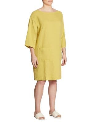 Organic Cotton Boatneck Tunic Dress by Eileen Fisher, Plus Size