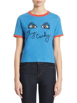 Cindy Cropped Embroidered Graphic Tee by Alice + Olivia