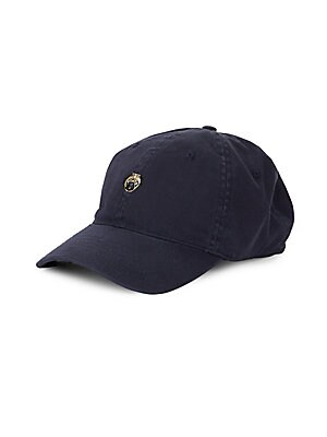 Image of Cotton baseball cap with embroidered graphic design Metal buckle closure Cotton Imported. Men Accessories - Fashion Accessories > Saks Fifth Avenue. Block Headwear. Color: Navy.
