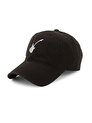 Image of Classic baseball cap with embroidered guitar graphic Cotton Spot clean Imported. Men Accessories - Cold Weather Accessories. Block Headwear. Color: Burgundy.