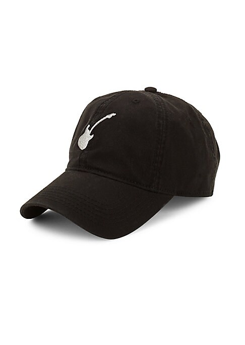 Image of Classic baseball cap with embroidered guitar graphic. Cotton. Spot clean. Imported.