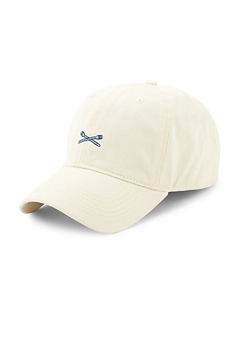 Image of Classic baseball cap with embroidered oars graphic. Cotton. Spot clean. Imported.