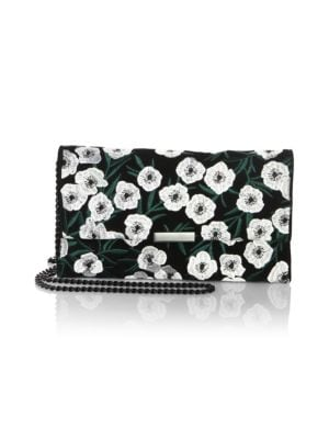 Tab Floral Embroidered Suede Clutch in Black