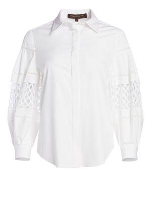 Cotton Button-Front Blouse by Carolina Herrera