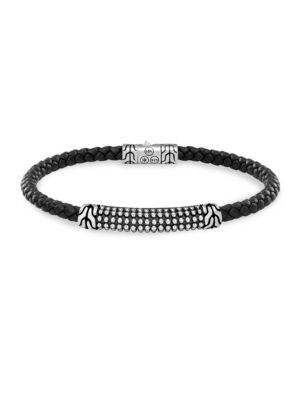 JOHN HARDY Men'S Sterling Silver Classic Chain Jawan Bracelet With Black Woven Leather