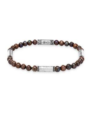 JOHN HARDY Men'S Classic Chain Hammered Sterling Silver & Boulder Opal Bead Bracelet in Brown