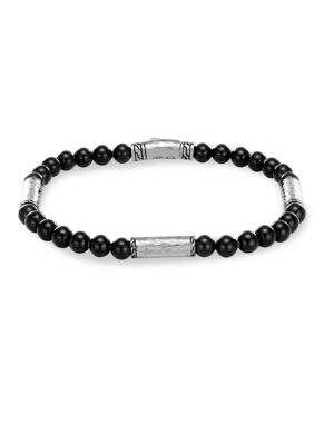 Men'S Hammered Sterling Silver Classic Chain Station And Black Onyx Bead Bracelet