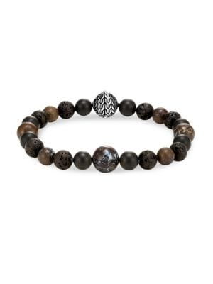 Men'S Sterling Silver Classic Chain Bracelet With Boulder Opal, Matte Black Onyx & Black Volcanic Ro in Brown