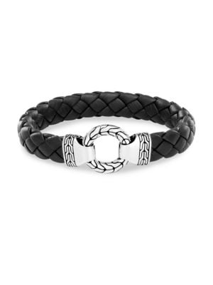 Men'S Sterling Silver Classic Chain Ring Bracelet With Braided Black Leather