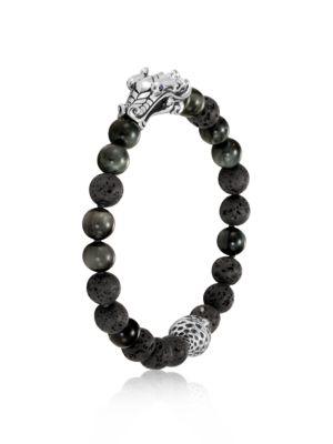 JOHN HARDY Men'S Sterling Silver Legends Naga Black Volcanic Rock Beaded Bracelet With Sapphire Eyes in Grey
