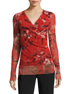 Humming Bird Print Surplice Top by Fuzzi