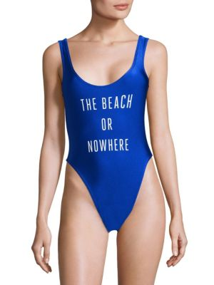 KNOWLITA The Beach Or Nowhere One-Piece Swimsuit in Cobalt