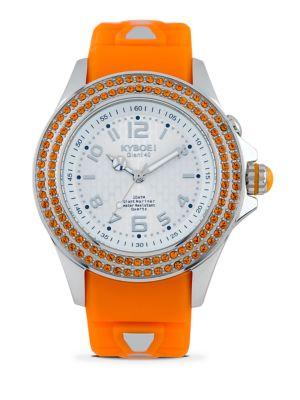 KYBOE! Radiant Vitality Swarovski Crystal & Silicone Strap Watch/Orange