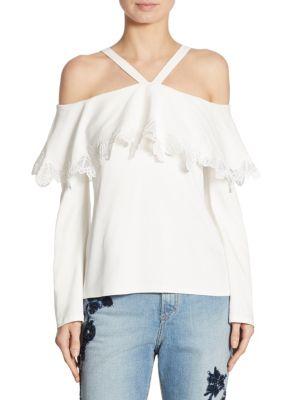 Cold-Shoulder Lace-Trim Crepe Top by Jonathan Simkhai