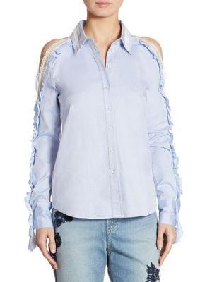 Ruffled Cold-Shoulder Oxford Shirt by Jonathan Simkhai
