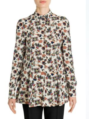 Pop Flower-Print Silk Blouse by VALENTINO