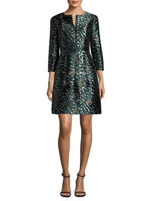 Cheetah-Print Mikado Dress
