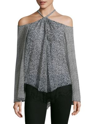Cold Shoulder Halter Laced Silk Blouse by Derek Lam 10 Crosby