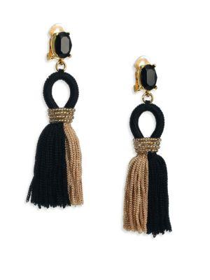 Oscar De La Renta Earrings Short Colorblock Silk Tassel Clip-On Earrings