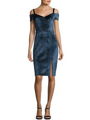 "Image of Lavish velvet dress in shoulder-baring style.V-neck. Cold-shoulder. Short sleeves. Concealed back zip. About 40"" from shoulder to hem. Viscose/polyester/polyamide/elastane. Dry clean. Made in Italy. Model shown is 5'10"" (177cm) wearing US size 4."