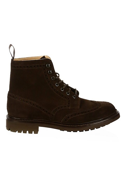Image of .Lace-up leather boots made with brogue features. .Leather upper. .Wingtip toe. .Lace-up vamp. .Leather lining. .Rubber sole. .Made in UK. .