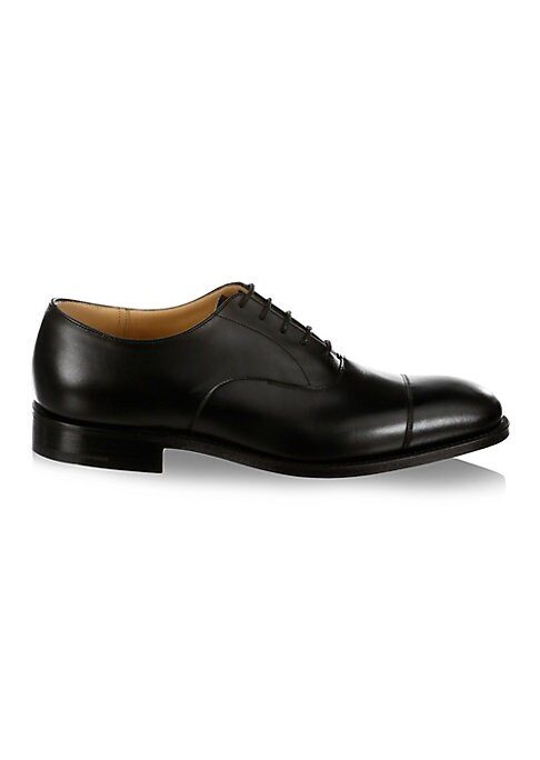 Image of .Luxury leather shoes designed with stitchings. .Leather upper. .Cap toe. .Lace-up vamp. .Leather lining and sole. .Made in UK. .