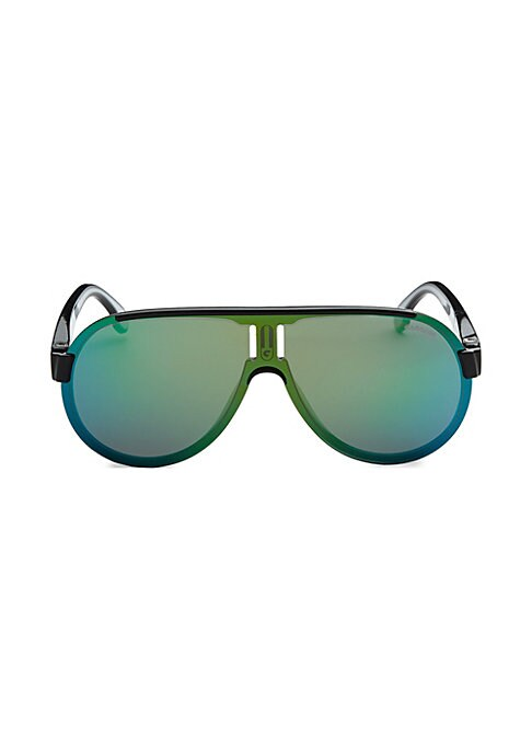 Image of Mirrored sunglasses with logo applique on temples.99mm lens width; 1mm bridge width; 145mm temple length.100% UV protection. Mirrored lenses. Case and cleaning cloth included. Polycarbonate/copolyamide. Imported.