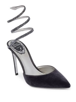 RENÉ CAOVILLA Embellished Coil Anklet Satin And Velvet Pumps, Dark Grey