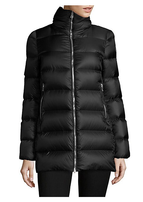 """Image of Quilted jacket with puffer design. Stand collar. Long sleeves. Exposed front zip. Front zip pockets. Polyamide/nylon. Dry clean. Imported. Model shown is 5'10"""" (177cm) wearing US size 4."""