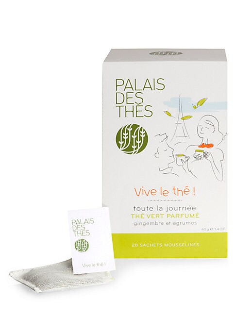 Image of A box of biodegradable cotton tea bag, delicately flavored with citrus fruit and ginger. Set of 20.3.2 oz. Shelf life: 3 years. Made in France.