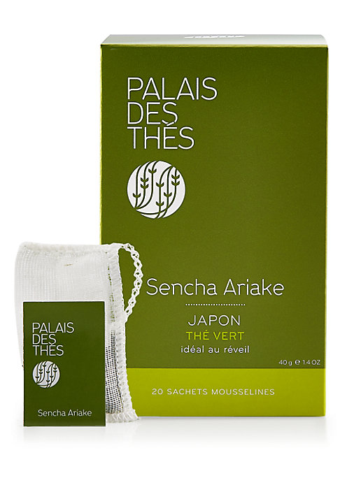 Image of A box of biodegradable cotton tea bags with Sencha Ariake, the mildest of the great Sencha teas. Set of 20.3.2 oz. Shelf life: 3 years. Made in France.