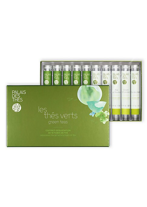 Image of A lovely gift set with ten sample tubes of green tea, includingLong Jing, Mao Feng Imperial, Genmaicha, Sencha Ariake, Tamaryokucha Imperial, The du Hammam, Grand Jasmin Chun Feng, Green of London, The des Alizes and The des Sources. Set of 10.0.4 oz each