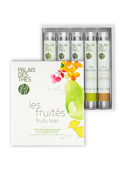Image of A lovely gift set with five sample tubes of fruity teas, including Blue of London, Gout Russe 7 Agrumes, The des Alizes, Theophile and Rooibos du Hammam. Set of 5.0.4 oz each. Shelf life: 3 years. Made in France.