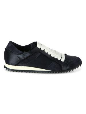 PEDRO GARCIA Cristina Satin Lace-Up Trainer Sneakers in Black