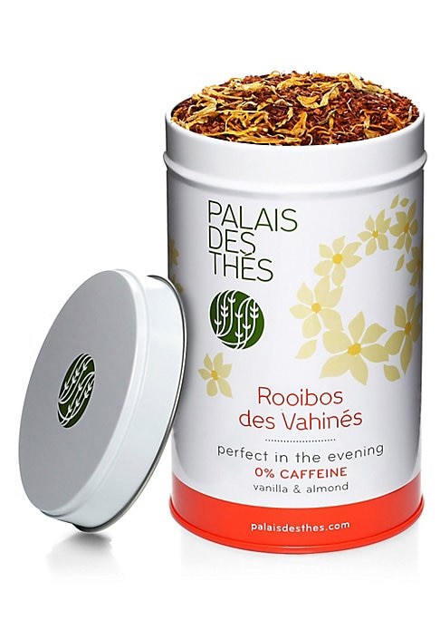 Image of A delicious blend of vanilla and almond against a delicate Rooibos backdrop. Makes up to 50 cups of tea. Caffeine free.3.5 oz. Recyclable metal tin. Shelf life: 3 years. Made in France.
