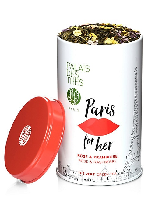 Image of A refreshing, loose green tea with notes of rose, raspberry, and lychee, packaged in a chic metal tin. Makes up to 50 cups of tea.3.5 oz. Recyclable metal tin. Shelf life: 3 years. Made in France.