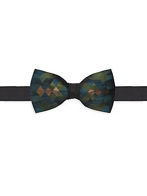 """Image of A sophisticated staple updated with gorgeous pheasant and turkey feather details Re-tied style Adjustable strap with clasp closure Satin/feathers Spot clean Made in USA SIZE About 2.5"""" wide. Men Luxury Coll - Formal Accessories. Brackish. Color: Blue."""