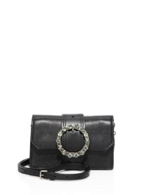 Miu Lady Embellished Smooth And Textured-Leather Shoulder Bag, Nero