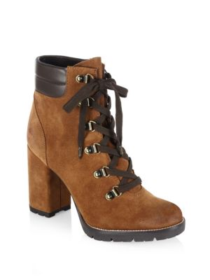 """Image of Subtle metallic accents highlight these chic booties. Self-covered heel, 4"""" (100mm).Suede upper. Almond toe. Lace-up style. Synthetic lining. Synthetic sole. Imported."""
