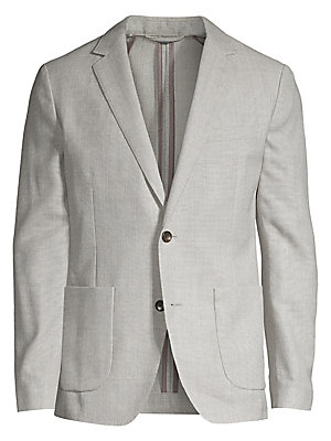 Image of Precisely tailored blazer made from rich wool Notched lapels Long sleeves with buttoned closure Front two-button closure Waist patch pockets Back vents Wool Dry clean Imported. Men Adv Contemp - Contemporary Tops. Bonobos. Color: Light Grey. Size: 36 R.