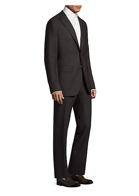 """Image of Basketweave motif adds rich texture to Italian-wool suit. Dry clean. Made in Italy. Jacket. Peak lapels. Long sleeves. Split cuffs. Button front. Chest welt pockets. Front flap pockets. Dual back vents. About 29"""" from shoulder to hem. Pants. Belt loops. Z"""