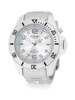 KYBOE! Summer Fling Stainless Steel & Silver Silcone Strap Watch in White
