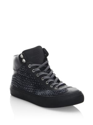Image of High-top sneakers featuring embossed woven design. Leather/textile upper. Round toe. Lace-up vamp. Calf leather lining. Rubber sole. Made in Italy.