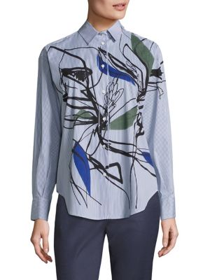 Graphic Striped Button-Down Shirt by Piazza Sempione