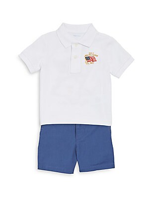 Image of Perfect for strolls through the park and playtime with friends, this cotton set comes with an embroidered Polo shirt, ripstop shorts, and a coordinating canvas belt. Cotton. Machine wash. Imported. Polo Ribbed Polo collar Short sleeves with ribbed armband