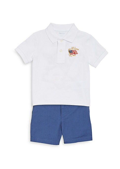 Image of Perfect for strolls through the park and playtime with friends, this cotton set comes with an embroidered Polo shirt, ripstop shorts, and a coordinating canvas belt. Cotton. Machine wash. Imported. Polo. Ribbed Polo collar. Short sleeves with ribbed armba